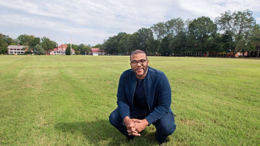 Tyler Perry is seen at the former Ft. McPherson Army base in Atlanta that is now the headquarters for Tyler Perry Studios.