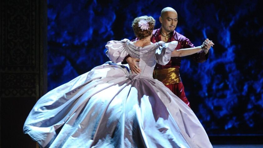 "Kelli O'Hara and Ken Watanabe in the Broadway revival of ""The King and I, whose touring version comes to San Diego in June."