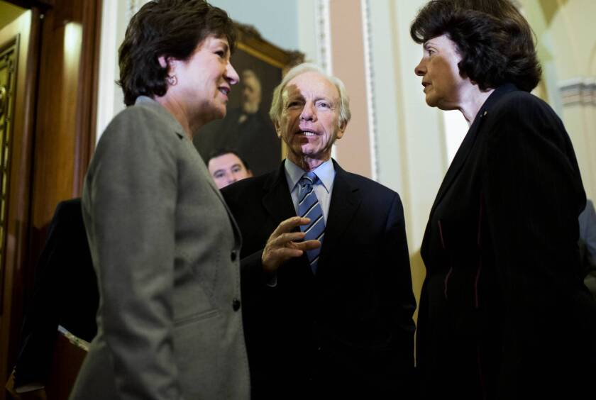 From left, Sens. Susan Collins, Joe Lieberman and Dianne Feinstein, who are among the sponsors of the cyber-security bill that was defeated.