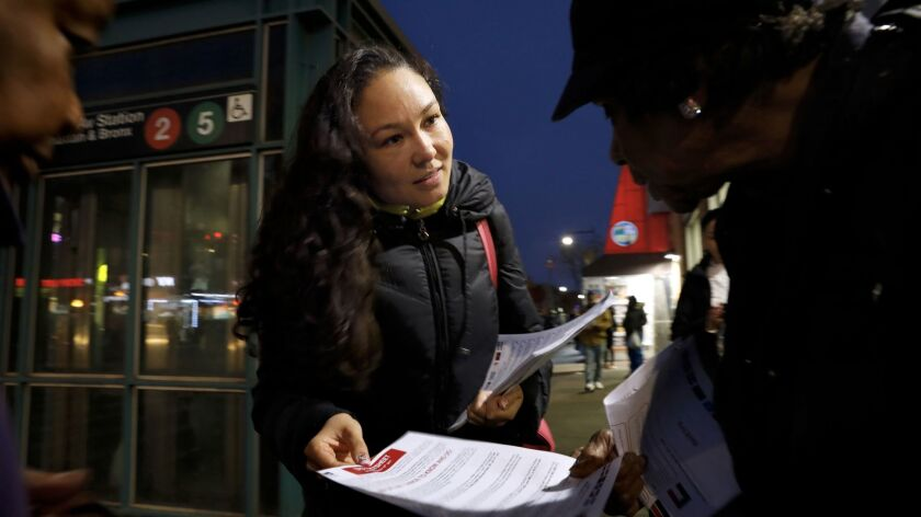 BROOKLYN, NEW YORK--NOV. 21, 2017--A member of the New York Mayor's office, Anna Shats, hands out in