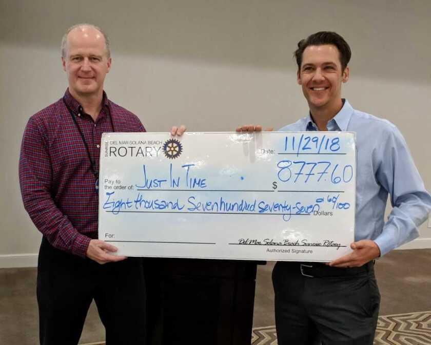 Nathan Brunetta, a former participant in Just in Time for Foster Youth, thanked the Del Mar-Solana Beach Rotary Club for its support of the nonprofit and check of $8,777. The nonprofit coaches, educates and provides access to resources and a caring community for nearly 800 youths each year ages 18 to 26 who are no longer in the foster care system. The Rotary holds Friday breakfast meetings at the Del Mar Hilton. Left to Right: Ken Barrett, president of DMSB Rotary and Nathan Brunetta, JIT Strategic Partnership Associate. Visit DMSBRotary.com and jitfosteryouth.org.