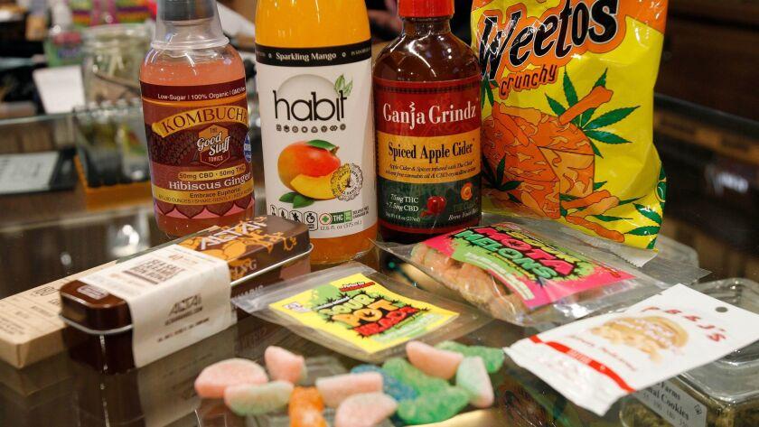 SAN DIEGO, November 14, 2017   Various types of marijuana edibles sold at the Urbn Leaf marijuana di