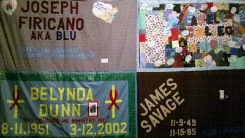 Portions of the AIDS Memorial Quilt are on display as part of World AIDS Day at UCSD on Dec. 1. Photo: UCSD