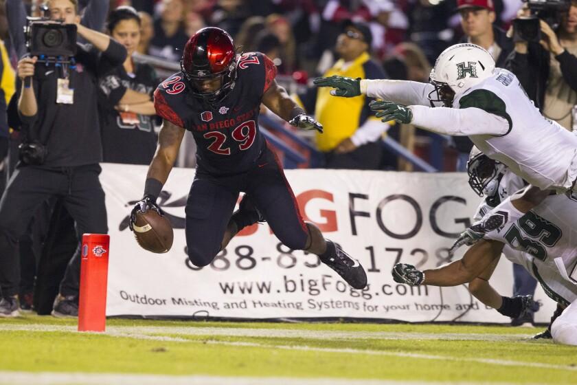 SDSU running back Juwan Washington scores a leaping touchdown.