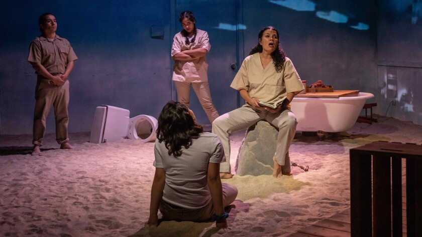 """Adriana Sevahn Nichols, seated, at the cast of """"Las Mujeres del Mar"""" at Playwrights Arena."""