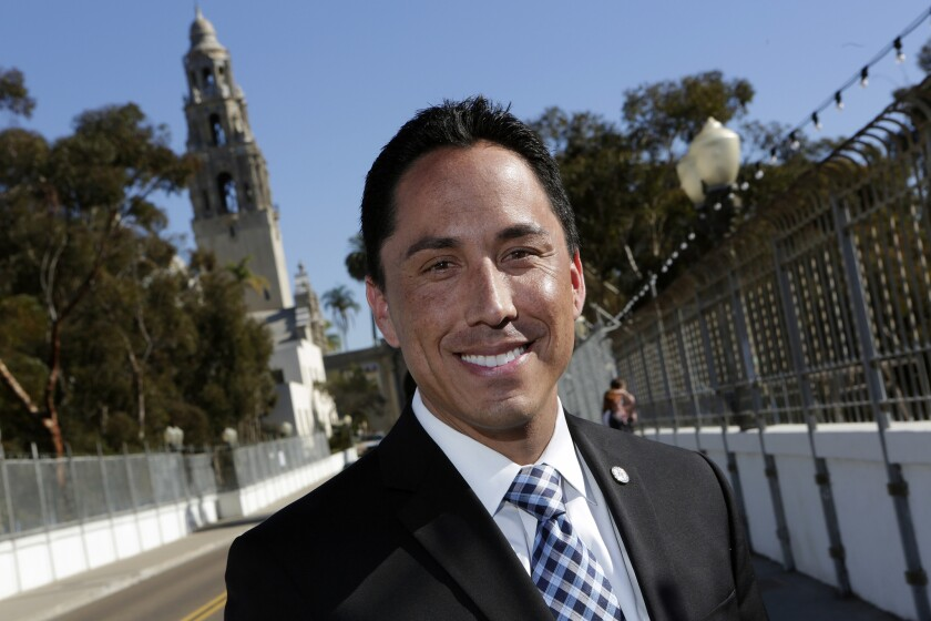 """""""This project is a first step,"""" Councilman Todd Gloria said of the apartment complex. Above, Gloria in Balboa Park in December 2013."""
