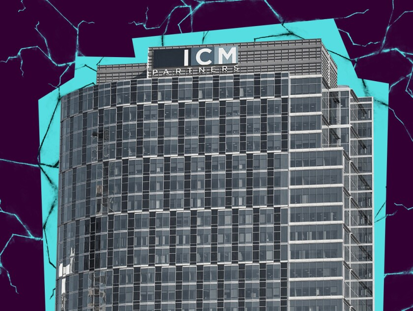 photo illustration of the ICM Partners building against a cracked background