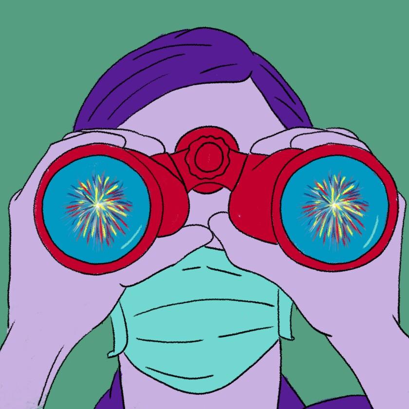 A masked person looks through binoculars.