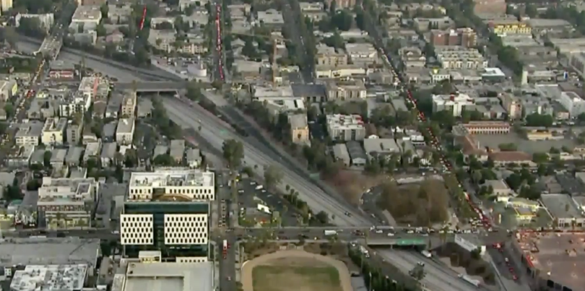 The 101 Freeway was closed in both directions early Tuesday.