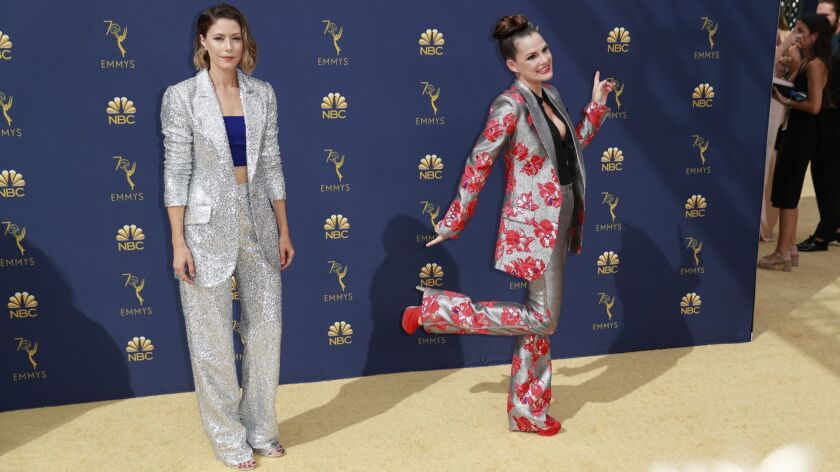 LOS ANGELES, CA., September 17, 2018: Amanda Crew and Suzanne Cryer?arriving at the 70th Primetime E