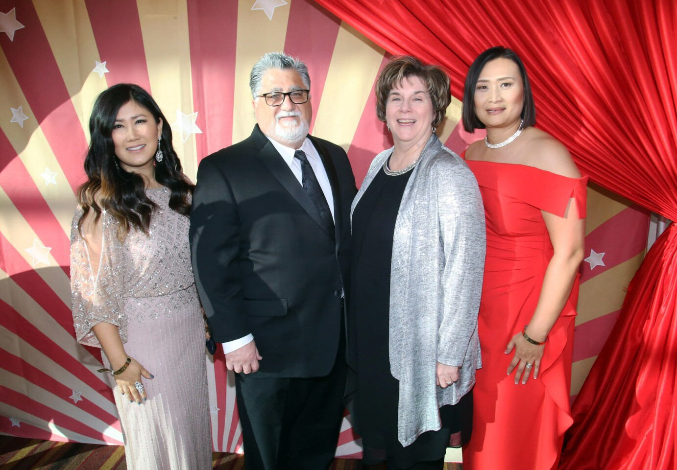 "From left, Sunyoung Fahami, state Sen. Anthony Portantino with his wife Ellen and Caroline Anderson during the La Cañada Flintridge Educational Foundation Annual Spring Gala themed ""Under the Big Top"" at the Ritz-Carlton in Los Angeles on Saturday."