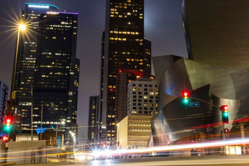 Walt Disney Concert Hall and Grand Avenue, photographed in downtown Los Angeles.