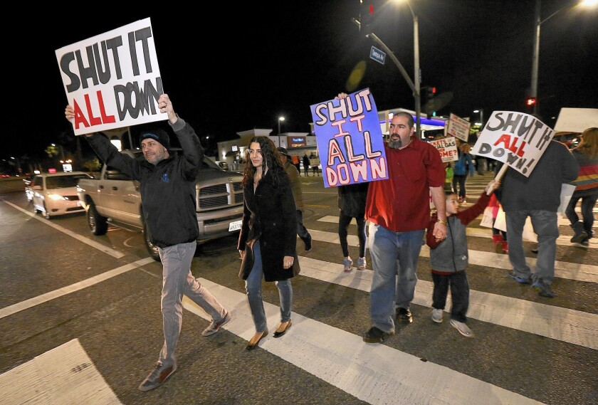 Porter Ranch residents at a protest last week call for the closure of the Aliso Canyon storage facility.