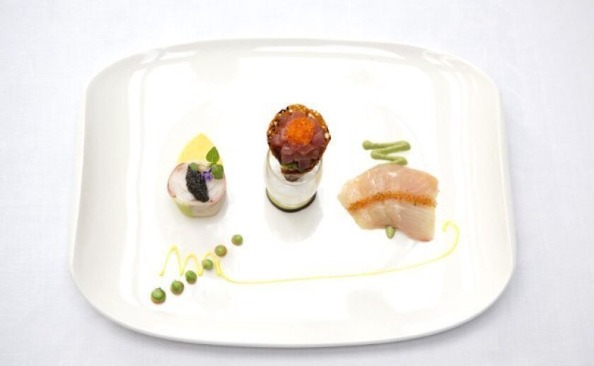 """The Marine Room's Ocean Tasting Trilogy. """"We cannot take it off the menu,"""" says executive chef Bernard Guillas."""