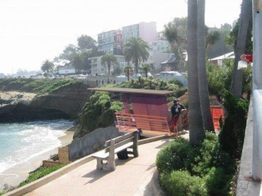 Artist rendering of the new lifeguard observation tower at La Jolla Cove, as seen from the sidewalk above the beach. Courtesy