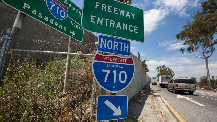 Shown is an entrance to the 710 Freeway in East Los Angeles.