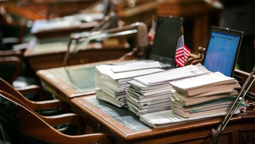 SACRAMENTO, CALIF. -- SATURDAY, SEPTEMBER 12, 2015: All that is left on the last day of legislative