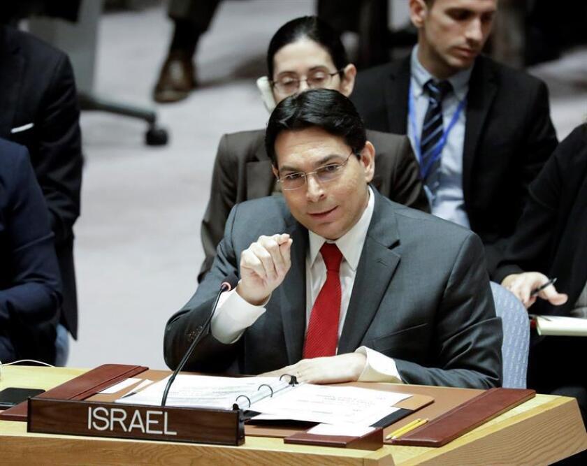 El embajador israelí en Naciones Unidas, Danny Danon, interviene en la reunión del Consejo de Seguridad. EFE/Archivo