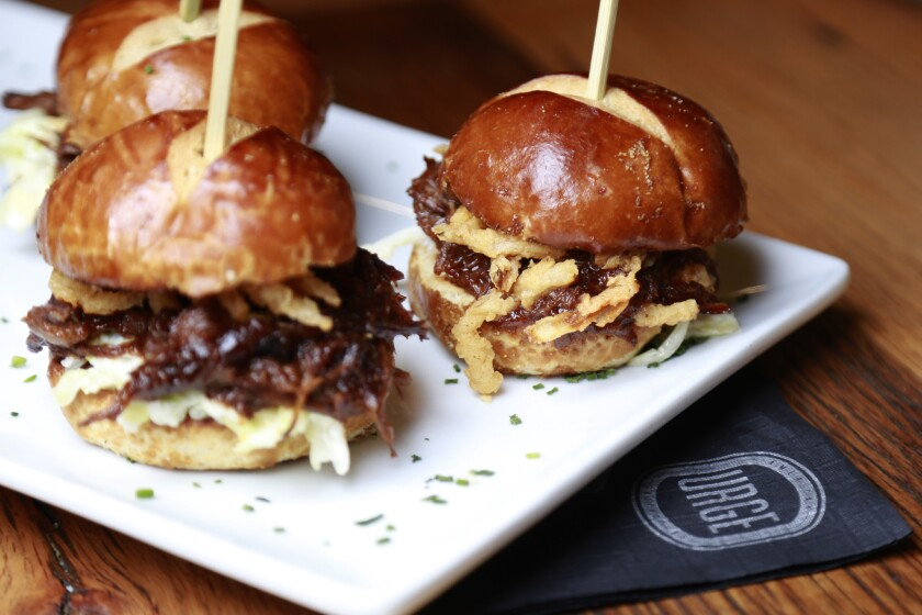 The Short Rib Sliders from Urge in San Marcos.