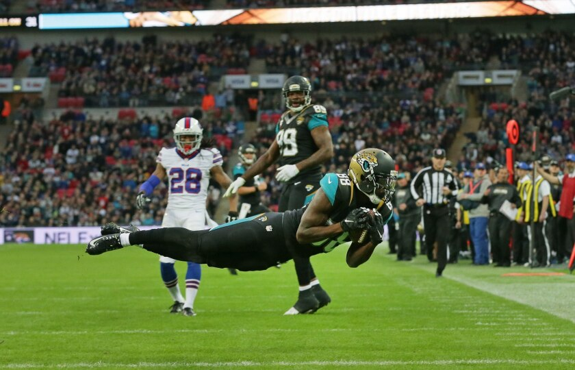 Jacksonville Jaguars wide receiver Allen Hurns catches the ball for a touchdown during the NFL game between the Buffalo Bills and the Jaguars at Wembley Stadium in London on Oct. 25, 2015.