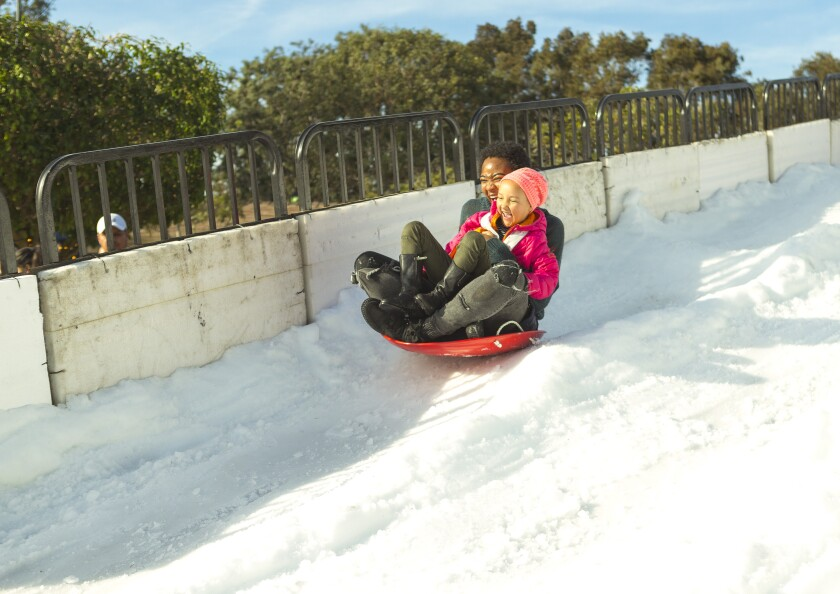 Play in the snow with a view of the ocean Dec. 14 at the Marina del Rey Snow Wonder.