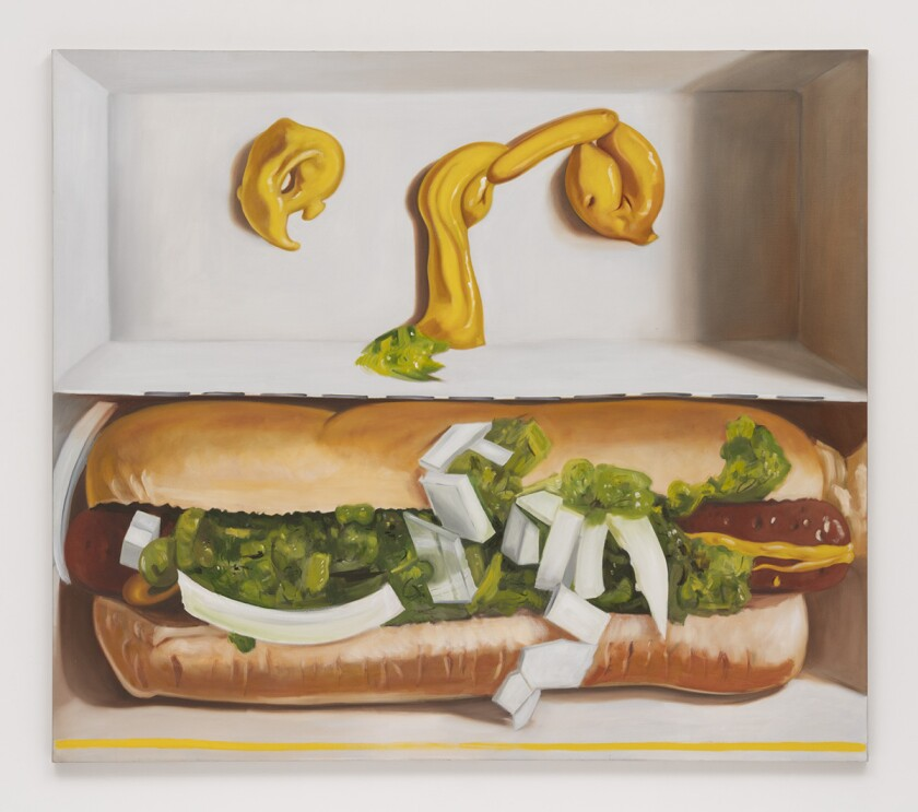 A painting shows a hot dog smothered in relish with eyes drawn in bright yellow mustard