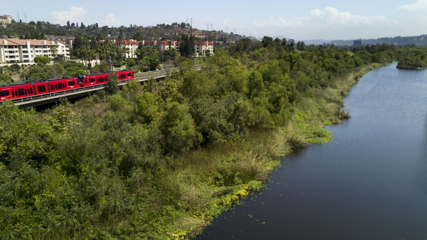 This is a view of Mission Valley looking northeast with the San Diego river on the right side. The Mission Valley Community Plan Update includes the addition of pedestrian and bicycle paths.