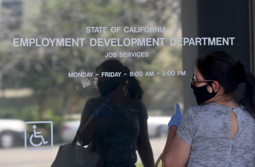 Maria Mora came to find information about her claim but found the California State Employment Development Department was closed due to coronavirus concerns. California unemployment has reached higher levels that during the peak of the Great Recession, Gov. Gavin Newsom said Thursday.
