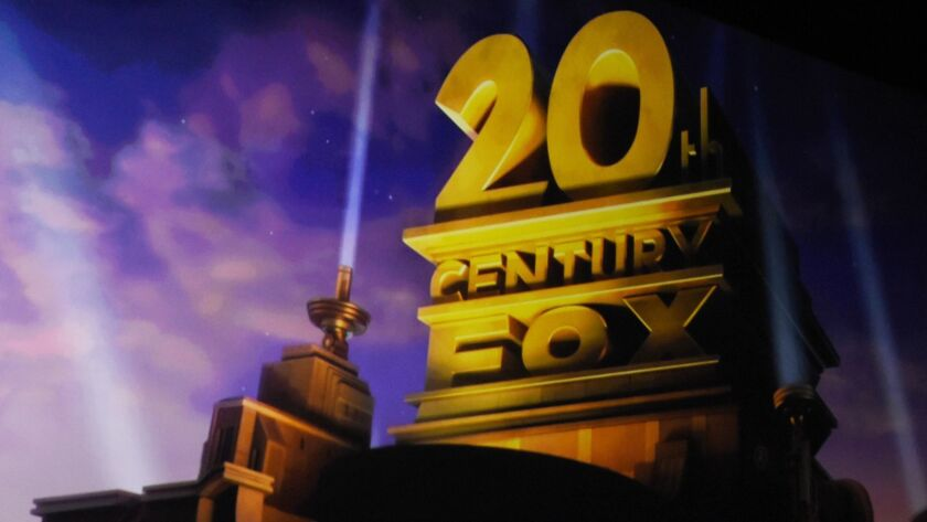The 20th Century Fox logo is projected during a presentation at CinemaCon last month in Las Vegas.