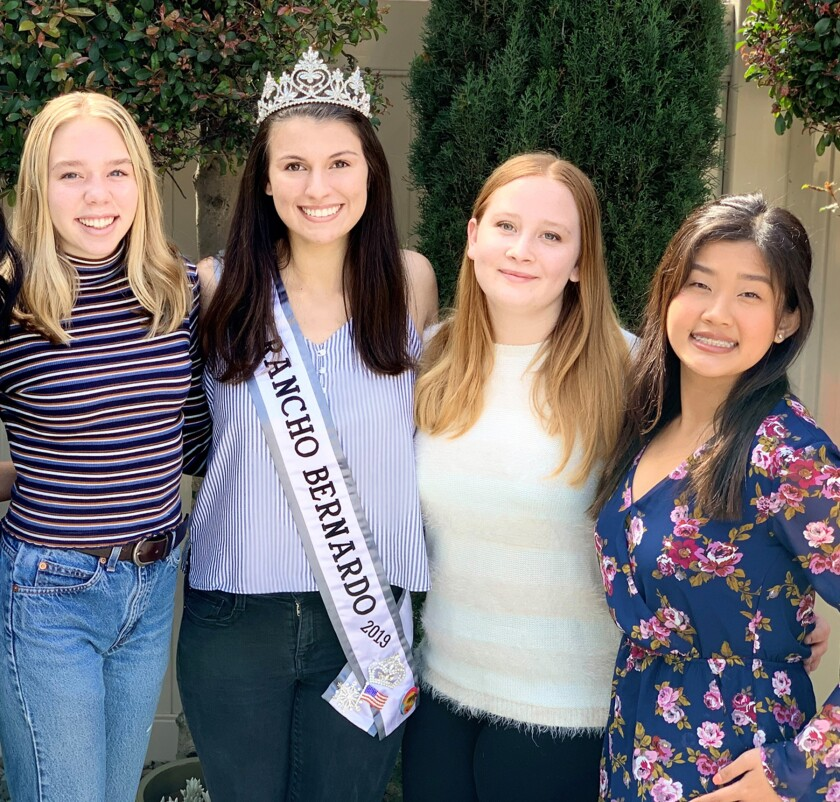 Miss RB 2019 Taylor Cloutier, second from left, with contestants Hailey Bunsold, Xana Hardesty and Amy Nguyen in March.