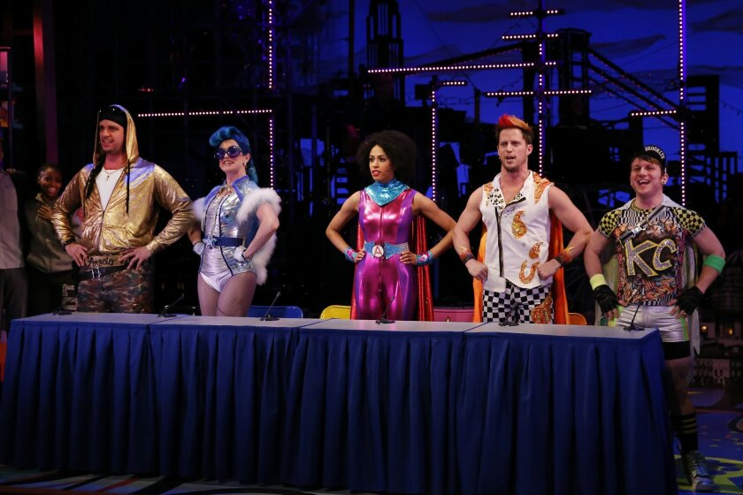 """This image released by Sam Rudy Public Relations shows, from left, Nick Cordero, Grace McLean, Nicolette Robinson, Andrew Call and Gerard Canonico during a performance of """"Brooklynite."""" (AP Photo/Sam Rudy Public Relations, Carol Rosegg)"""