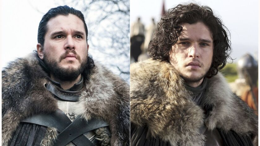 """This combination photo of images released by HBO show Kit Harington portraying Jon snow in """"Game of"""