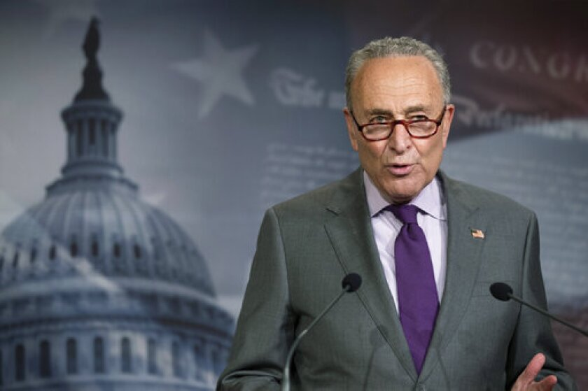 Senate Minority Leader Chuck Schumer of N.Y., speaks during a news conference on Capitol Hill, Tuesday, June 30, 2020, in Washington. (AP Photo/Manuel Balce Ceneta)