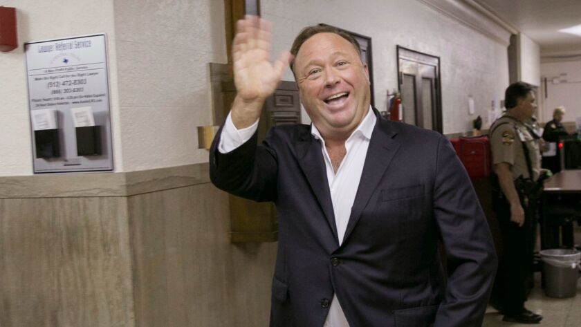 FILE- In this April 19, 2017, file photo, Alex Jones, a well-known Austin-based broadcaster and prov