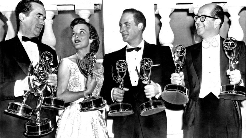 1957 EMMY AWARDS, NEW YORK – New York MC Phil Silvers with Emmy winners from the East Coast. From le