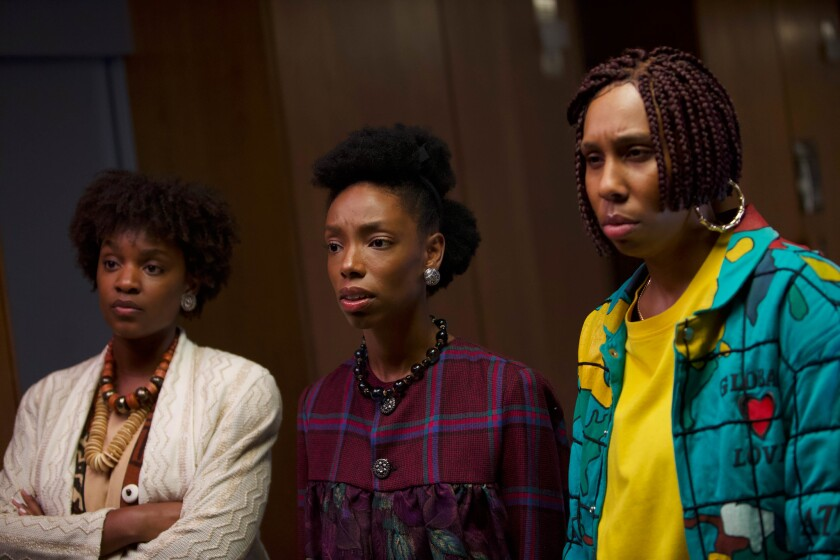 "Characters played by, from left, Yaani King Mondschein, Elle Lorraine and Lena Waithe weigh the personal price of success in ""Bad Hair"" by Justin Simien."