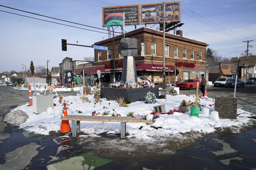 George Floyd Square is shown on Feb. 8, 2021, in Minneapolis. Ten months after police officers brushed off George Floyd's moans for help on the street outside a south Minneapolis grocery, the square remains a makeshift memorial for Floyd who died at the hand of police making an arrest. The trial of former Minneapolis police officer Derek Chauvin will begin with jury selection on March 8. (AP Photo/Jim Mone)