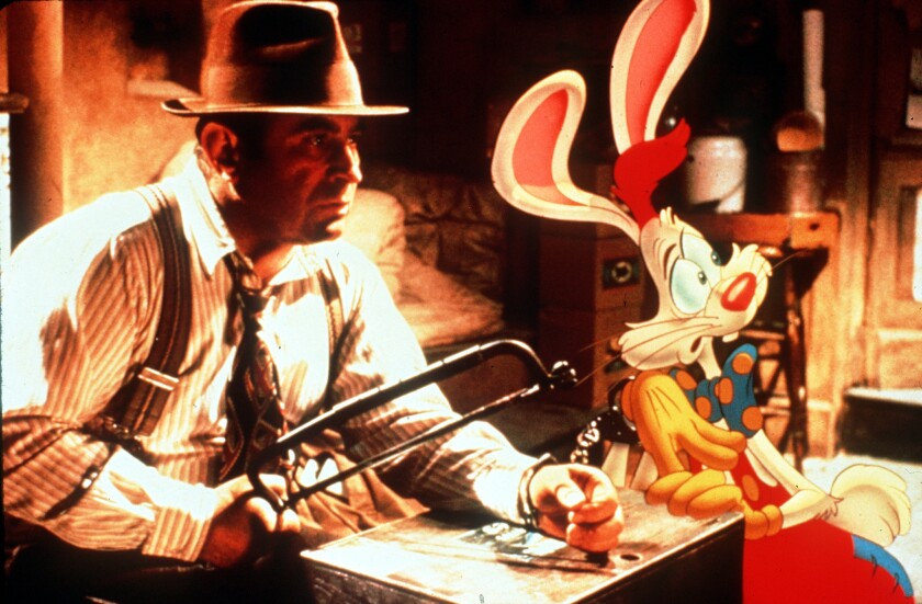 """Bob Hoskins as Eddie Valiant, a down-on-his-luck gumshoe who agrees to take on Maroon Studios' contract star Roger Rabbit's unusual case in the movie """"Who Framed Roger Rabbit."""""""