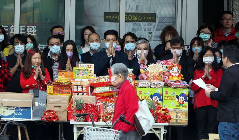 Office workers wearing face masks in Taipei, Taiwan