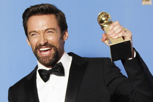 Hugh Jackman, winner for actor in a musical or comedy ('Les Miserables')