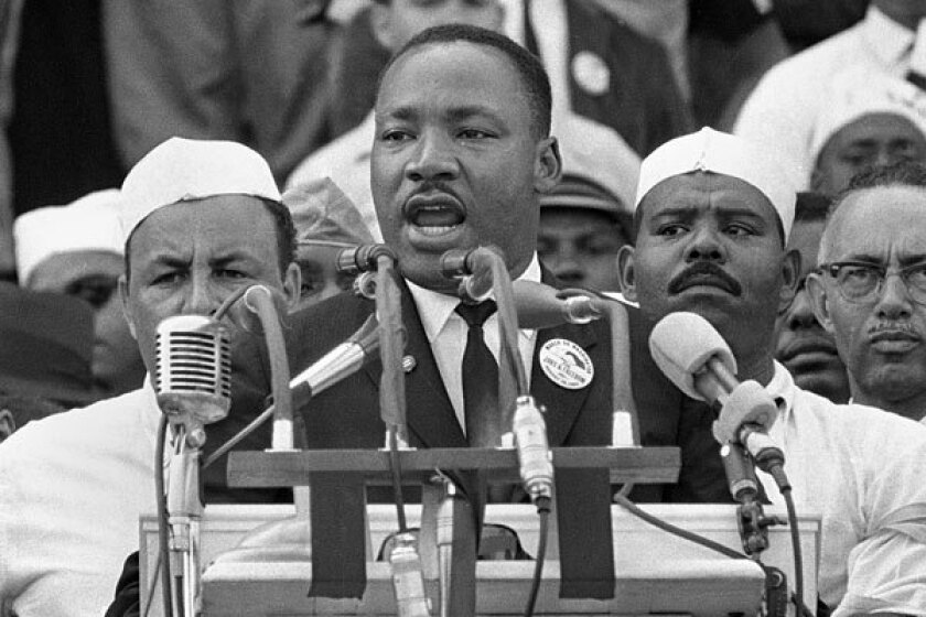 """Martin Luther King, Jr. delivers his """"I Have a Dream"""" speech in 1963."""