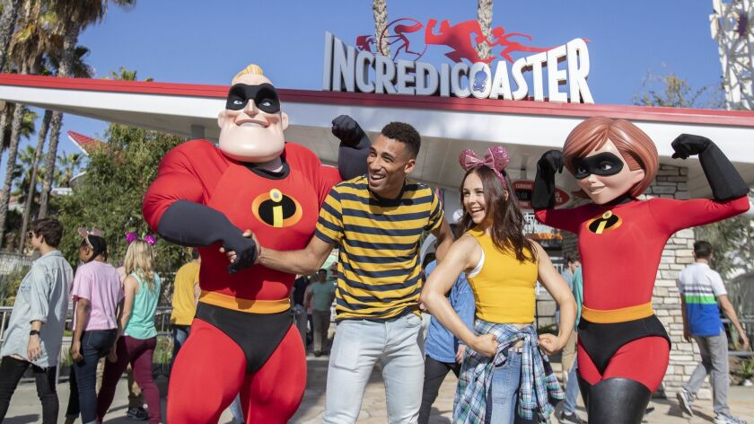 "At Pixar Pier in Disney California Adventure Park, guests can pal around with their favorite characters from Disney's ""The Incredibles."""