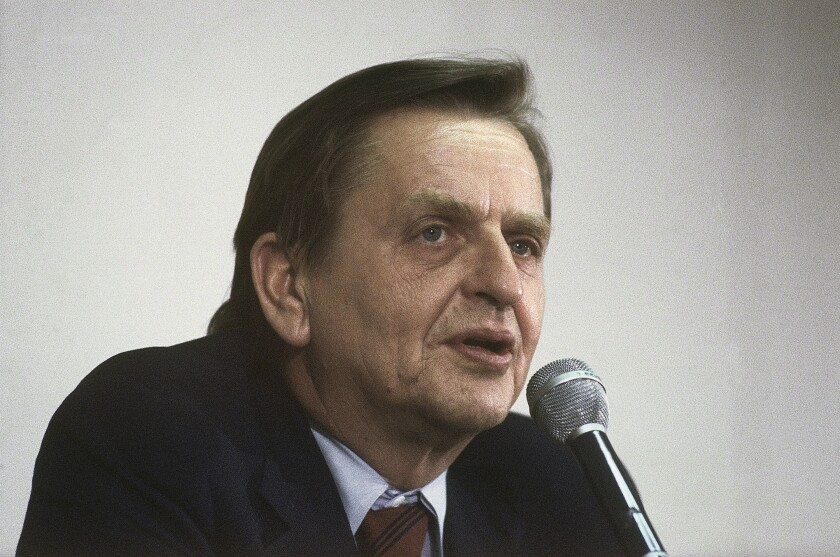 Former Swedish Prime Minister Olof Palme, shown in 1980. He was assassinated in 1986.
