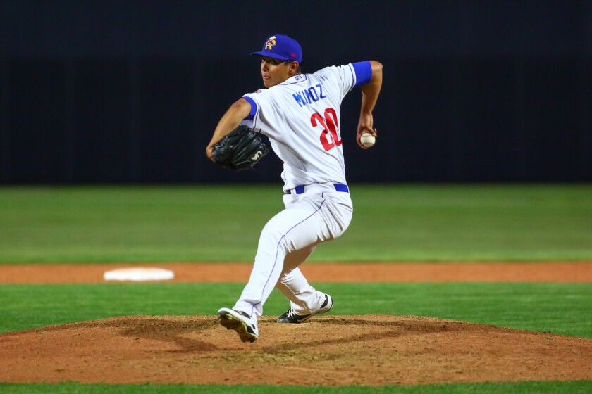 Amarillo Sod Poodles pitcher Andres Munoz (20) pitches against the Corpus Christi Hooks on Saturday, April 20, 2019, at HODGETOWN in Amarillo, Texas.