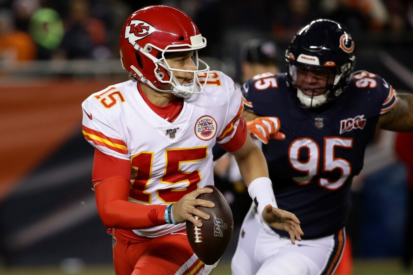 Kansas City Chiefs quarterback Patrick Mahomes looks to pass against the Chicago Bears on Sunday.