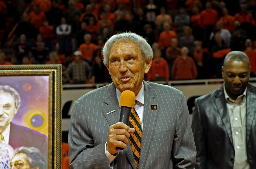 Eddie Sutton, who coached Oklahoma State between 1990 and 2006, was honored on Eddie Sutton Day in Stillwater, Okla., on Feb. 3, 2014.