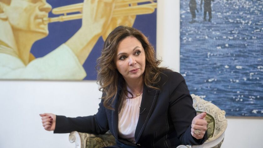Russian lawyer Natalia Veselnitskaya listens during an interview with the Associated Press in Moscow in April.