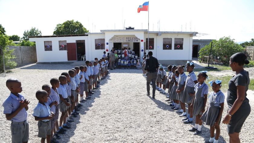 Haitian students during the daily flag ceremony at Institute Edeline School.