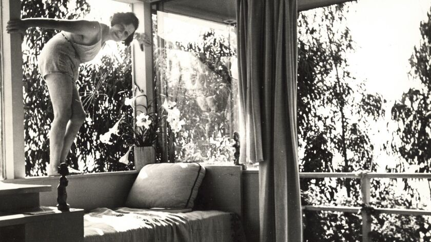 A detail from a photo of art collector and dealer Galka Scheyer in her home built by architect Richa