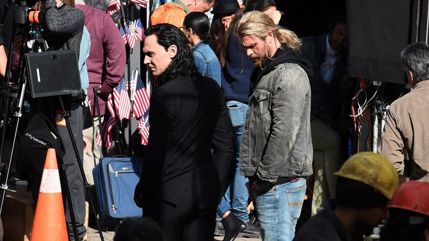 "Tom Hiddleston and Chris Hemsworth on set Aug. 22 during the filming of ""Thor: Ragnarok"" in Brisbane, Australia."